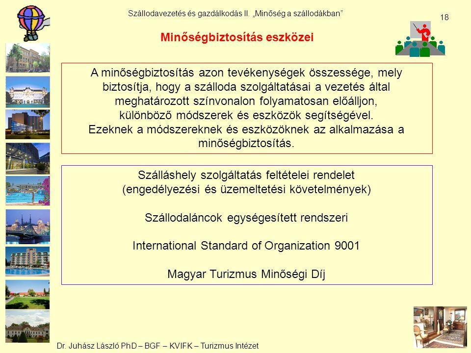 """Dr. Juhász László PhD – BGF – KVIFK – Turizmus Intézet Szállodavezetés és gazdálkodás II. """"Minőség a szállodákban"""" 18 A minőségbiztosítás azon tevéken"""