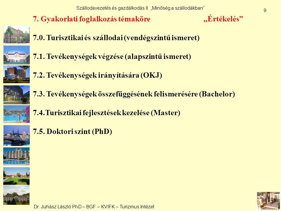 """Dr. Juhász László PhD – BGF – KVIFK – Turizmus Intézet Szállodavezetés és gazdálkodás II. """"Minőség a szállodákban"""" 9 7. Gyakorlati foglalkozás témakör"""