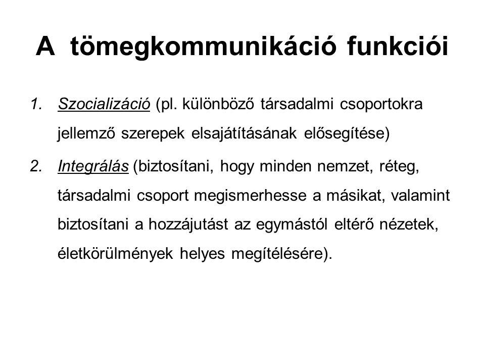 A tömegkommunikáció funkciói 1.Szocializáció (pl.