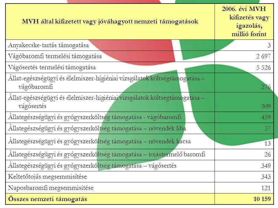MVH által kifizetett vagy jóváhagyott nemzeti támogatások 2006.