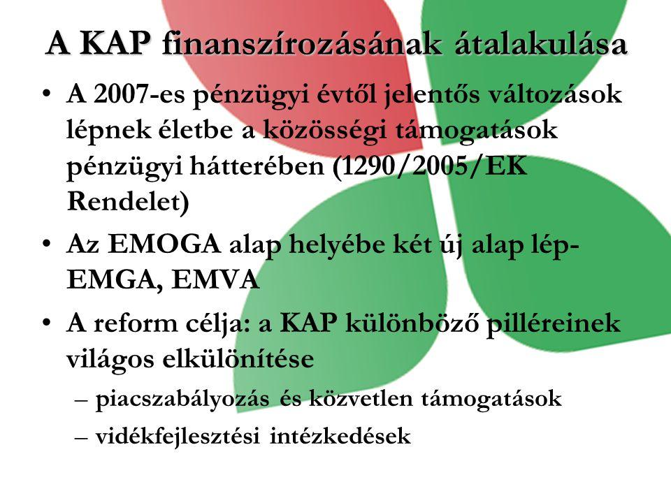 A KAP finanszírozásának átalakulása A 2007-es pénzügyi évtől jelentős változások lépnek életbe a közösségi támogatások pénzügyi hátterében (1290/2005/EK Rendelet) Az EMOGA alap helyébe két új alap lép- EMGA, EMVA A reform célja: a KAP különböző pilléreinek világos elkülönítése –piacszabályozás és közvetlen támogatások –vidékfejlesztési intézkedések
