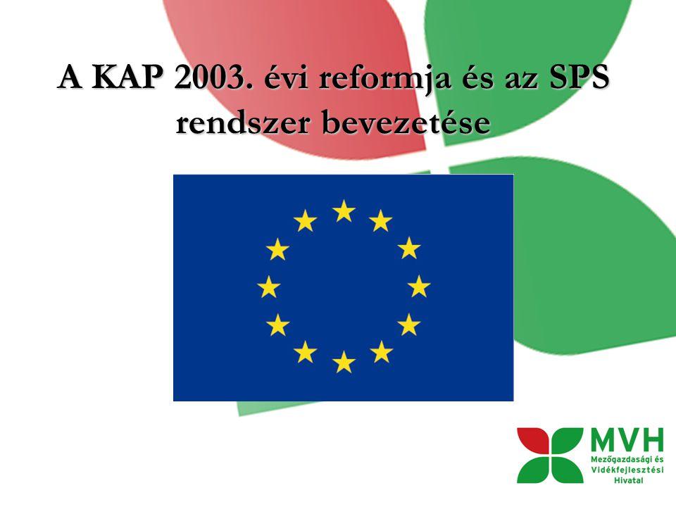 A KAP 2003. évi reformja és az SPS rendszer bevezetése