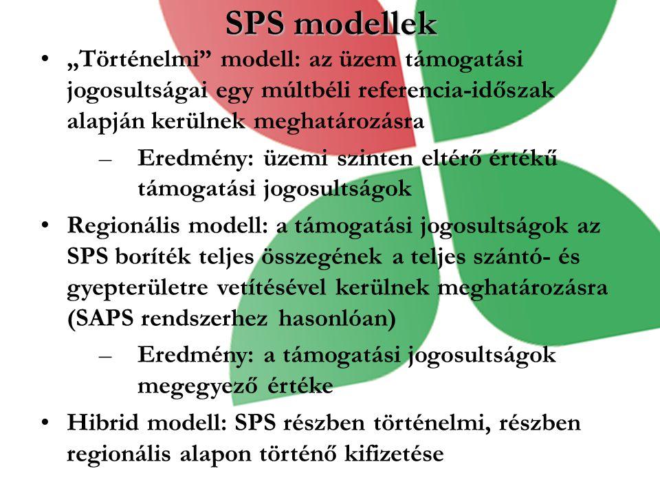 """SPS modellek """"Történelmi modell: az üzem támogatási jogosultságai egy múltbéli referencia-időszak alapján kerülnek meghatározásra –Eredmény: üzemi szinten eltérő értékű támogatási jogosultságok Regionális modell: a támogatási jogosultságok az SPS boríték teljes összegének a teljes szántó- és gyepterületre vetítésével kerülnek meghatározásra (SAPS rendszerhez hasonlóan) –Eredmény: a támogatási jogosultságok megegyező értéke Hibrid modell: SPS részben történelmi, részben regionális alapon történő kifizetése"""