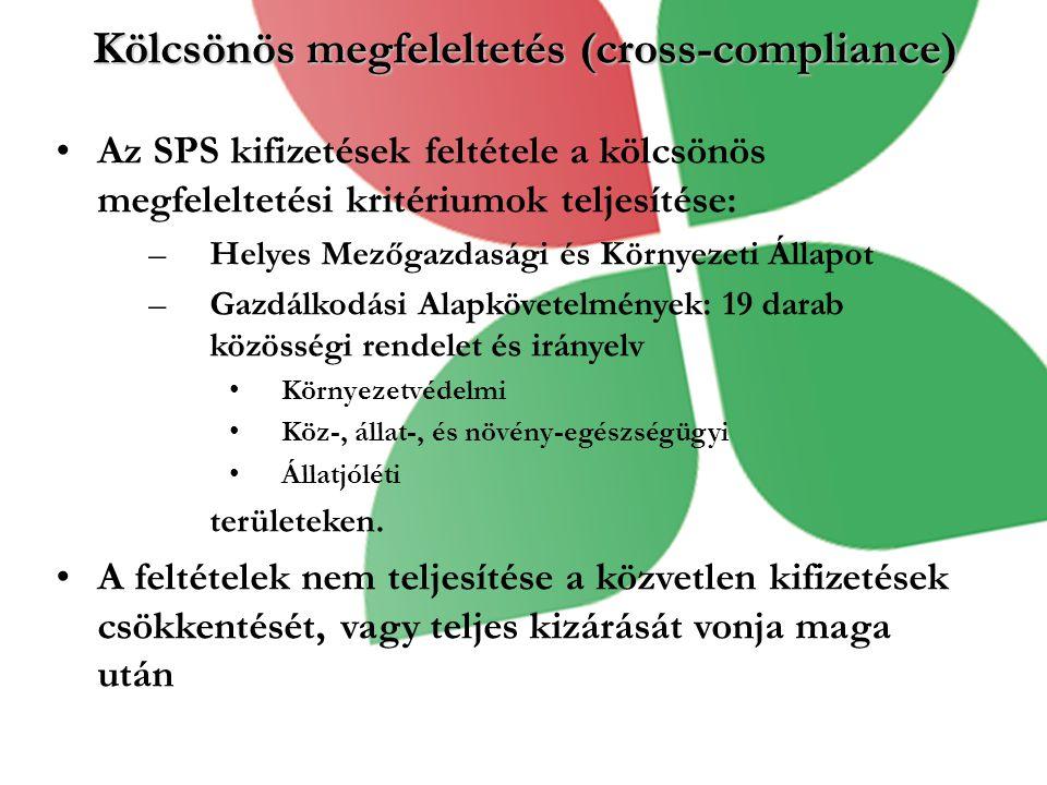 Kölcsönös megfeleltetés (cross-compliance) Az SPS kifizetések feltétele a kölcsönös megfeleltetési kritériumok teljesítése: –Helyes Mezőgazdasági és Környezeti Állapot –Gazdálkodási Alapkövetelmények: 19 darab közösségi rendelet és irányelv Környezetvédelmi Köz-, állat-, és növény-egészségügyi Állatjóléti területeken.