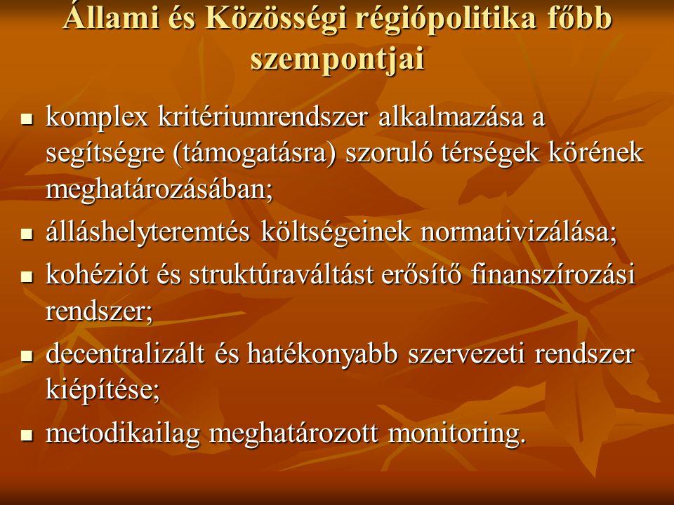 Állami és Közösségi régiópolitika főbb szempontjai komplex kritériumrendszer alkalmazása a segítségre (támogatásra) szoruló térségek körének meghatáro