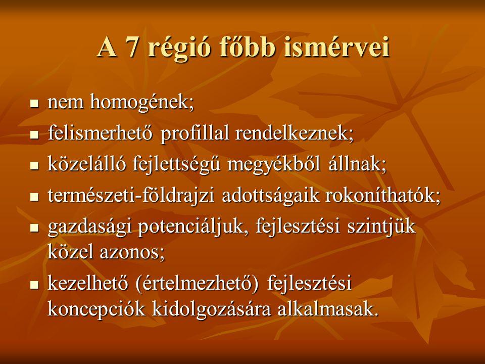 A 7 régió főbb ismérvei nem homogének; nem homogének; felismerhető profillal rendelkeznek; felismerhető profillal rendelkeznek; közelálló fejlettségű