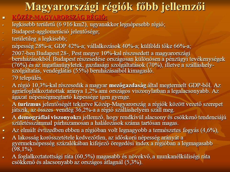 Magyarországi régiók főbb jellemzői KÖZÉP-MAGYARORSZÁG RÉGIÓ: KÖZÉP-MAGYARORSZÁG RÉGIÓ: legkisebb területű (6 916 km2), ugyanakkor legnépesebb régió;