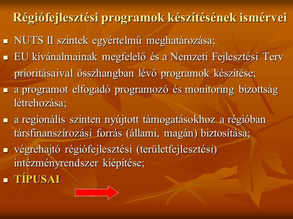 Régiófejlesztési programok készítésének ismérvei NUTS II szintek egyértelmű meghatározása; NUTS II szintek egyértelmű meghatározása; EU kívánalmainak