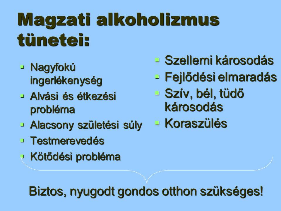 Magzati alkoholizmus tünetei:  Nagyfokú ingerlékenység  Alvási és étkezési probléma  Alacsony születési súly  Testmerevedés  Kötődési probléma Bi