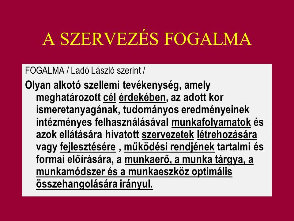 A SZERVEZÉS FOGALMA FOGALMA / Ladó László szerint / Olyan alkotó szellemi tevékenység, amely meghatározott cél érdekében, az adott kor ismeretanyagána