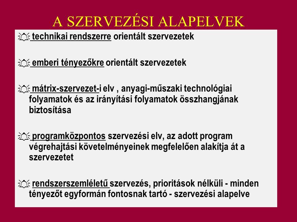 A SZERVEZÉSI ALAPELVEK  technikai rendszerre orientált szervezetek  emberi tényezőkre orientált szervezetek  mátrix-szervezet-i elv, anyagi-műszaki