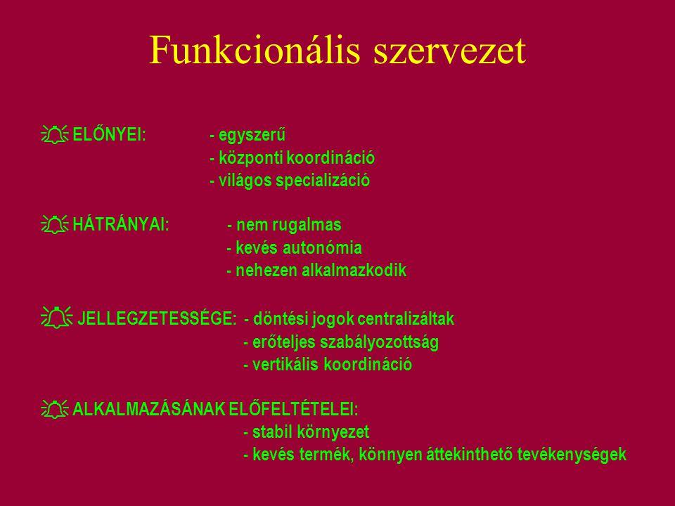 Funkcionális szervezet  ELŐNYEI:- egyszerű - központi koordináció - világos specializáció  HÁTRÁNYAI: - nem rugalmas - kevés autonómia - nehezen alk
