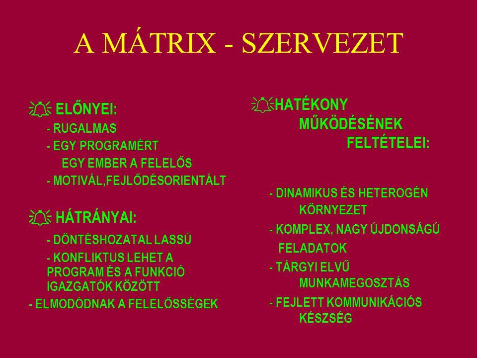 A MÁTRIX - SZERVEZET  ELŐNYEI: - RUGALMAS - EGY PROGRAMÉRT EGY EMBER A FELELŐS - MOTIVÁL,FEJLŐDÉSORIENTÁLT  HÁTRÁNYAI: - DÖNTÉSHOZATAL LASSÚ - KONFL