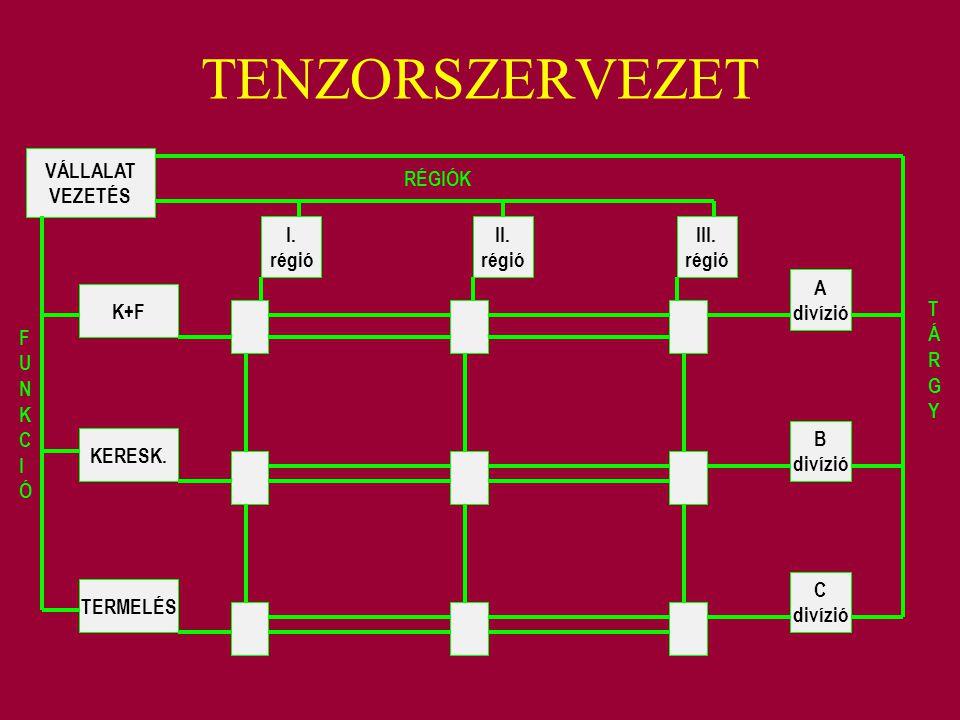 TENZORSZERVEZET VÁLLALAT VEZETÉS K+F KERESK. TERMELÉS I. régió II. régió III. régió A divízió B divízió C divízió RÉGIÓK FUNKCIÓFUNKCIÓ TÁRGYTÁRGY