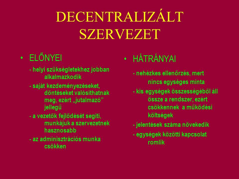 """DECENTRALIZÁLT SZERVEZET ELŐNYEI - helyi szükségletekhez jobban alkalmazkodik - saját kezdeményezéseket, döntéseket valósíthatnak meg, ezért """"jutalmaz"""