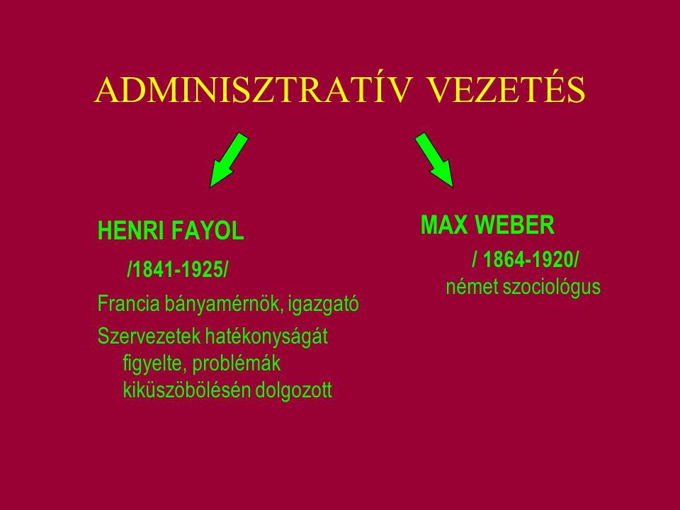 ADMINISZTRATÍV VEZETÉS HENRI FAYOL /1841-1925/ Francia bányamérnök, igazgató Szervezetek hatékonyságát figyelte, problémák kiküszöbölésén dolgozott MA