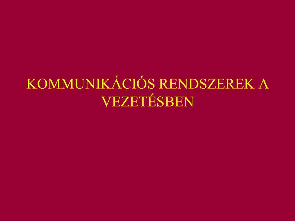 KOMMUNIKÁCIÓS RENDSZEREK A VEZETÉSBEN