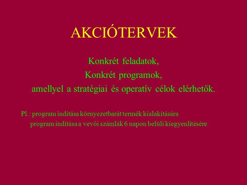 AKCIÓTERVEK Konkrét feladatok, Konkrét programok, amellyel a stratégiai és operatív célok elérhetők. Pl.: program indítása környezetbarát termék kiala