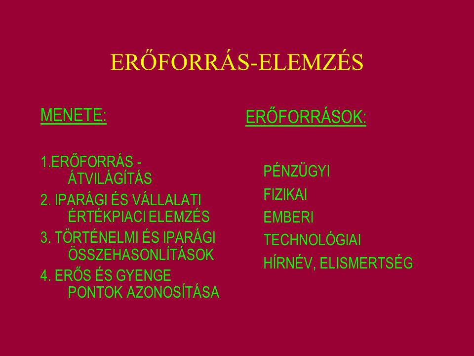 ERŐFORRÁS-ELEMZÉS MENETE: 1.ERŐFORRÁS - ÁTVILÁGÍTÁS 2. IPARÁGI ÉS VÁLLALATI ÉRTÉKPIACI ELEMZÉS 3. TÖRTÉNELMI ÉS IPARÁGI ÖSSZEHASONLÍTÁSOK 4. ERŐS ÉS G