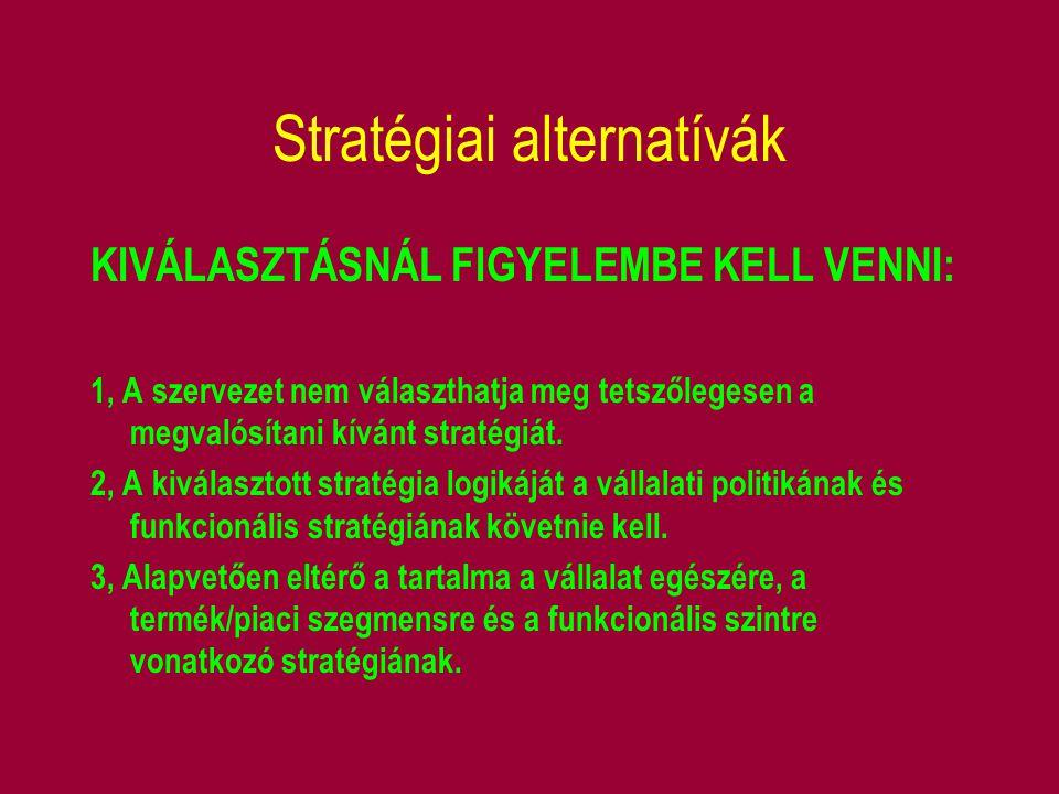 Stratégiai alternatívák KIVÁLASZTÁSNÁL FIGYELEMBE KELL VENNI: 1, A szervezet nem választhatja meg tetszőlegesen a megvalósítani kívánt stratégiát. 2,