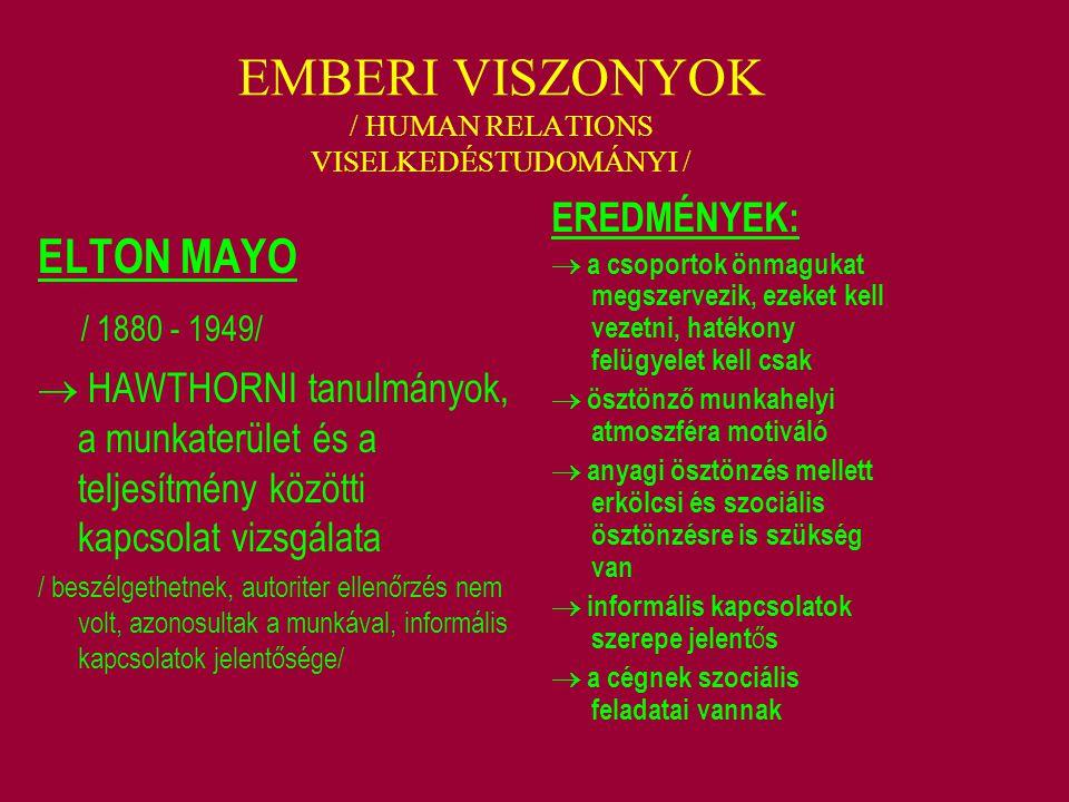 EMBERI VISZONYOK / HUMAN RELATIONS VISELKEDÉSTUDOMÁNYI / ELTON MAYO / 1880 - 1949/  HAWTHORNI tanulmányok, a munkaterület és a teljesítmény közötti k