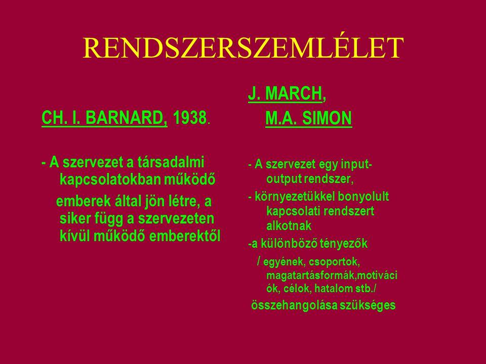 RENDSZERSZEMLÉLET CH. I. BARNARD, 1938. - A szervezet a társadalmi kapcsolatokban működő emberek által jön létre, a siker függ a szervezeten kívül műk