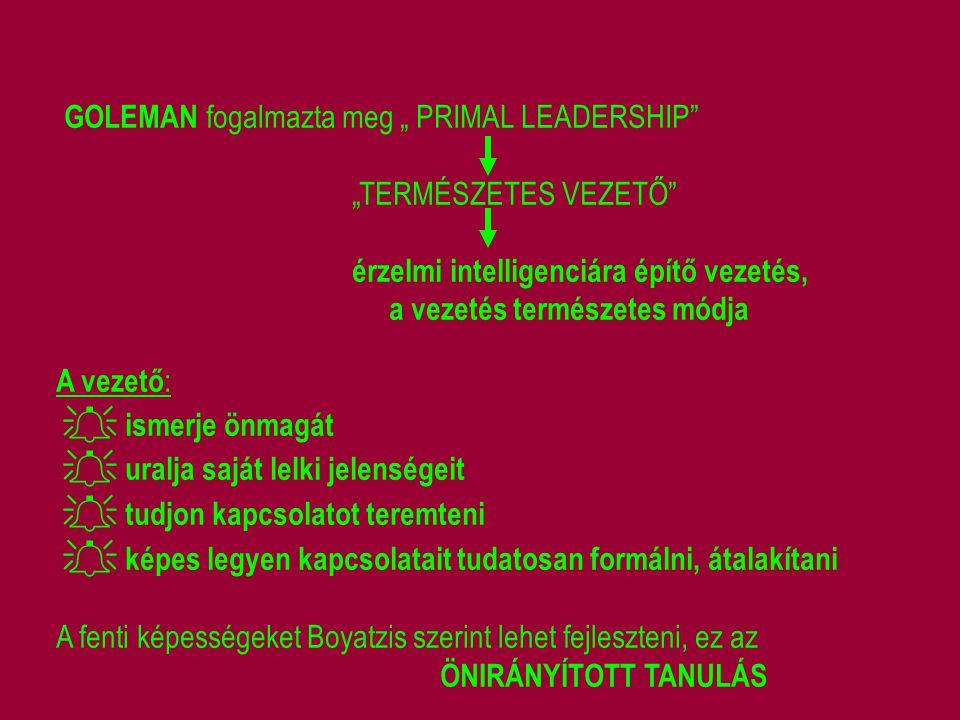 """GOLEMAN fogalmazta meg """" PRIMAL LEADERSHIP"""" """"TERMÉSZETES VEZETŐ"""" érzelmi intelligenciára építő vezetés, a vezetés természetes módja A vezető :  ismer"""