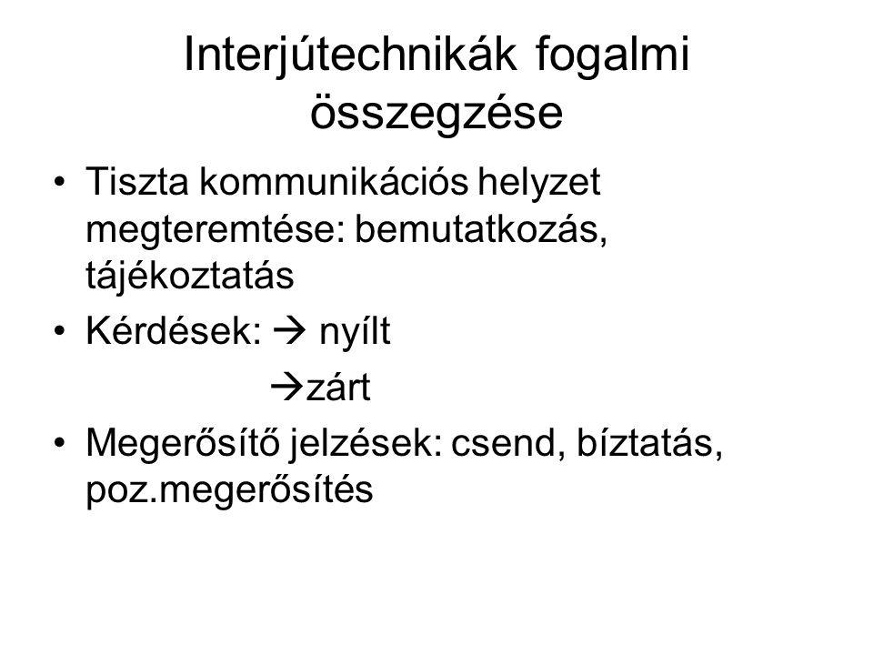 Interjútechnikák fogalmi összegzése Tiszta kommunikációs helyzet megteremtése: bemutatkozás, tájékoztatás Kérdések:  nyílt  zárt Megerősítő jelzések