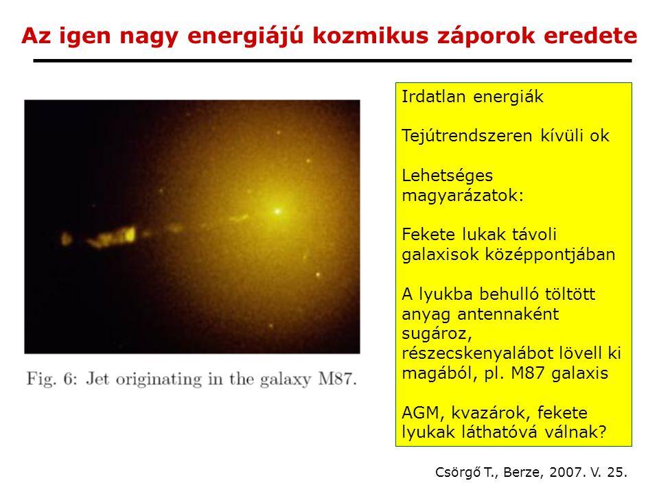 Az igen nagy energiájú kozmikus záporok eredete Csörgő T., Berze, 2007.