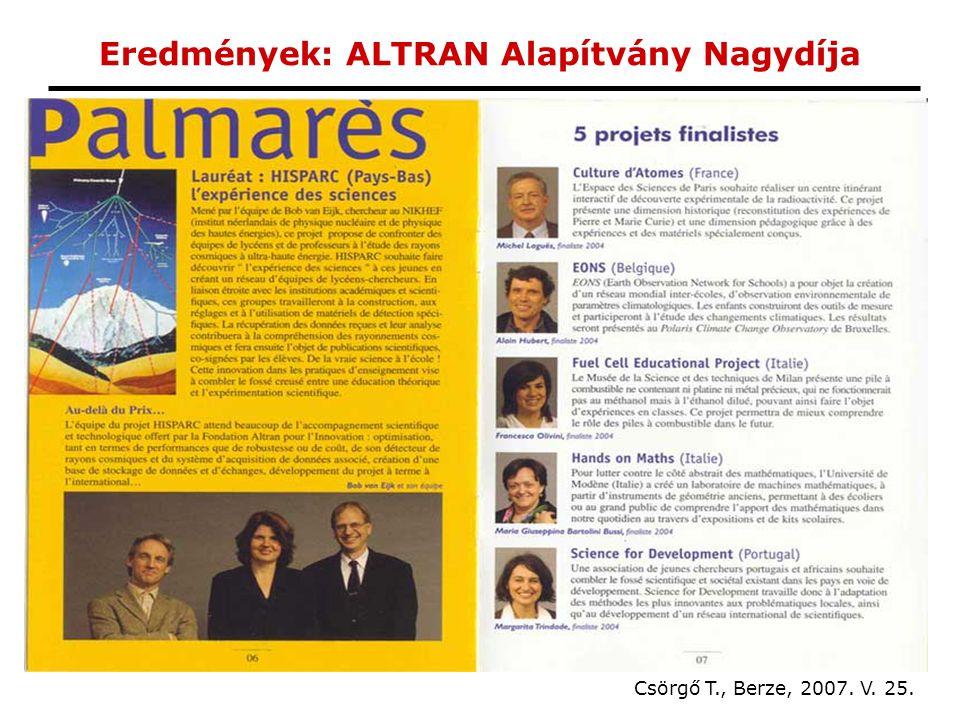 Eredmények: ALTRAN Alapítvány Nagydíja Csörgő T., Berze, 2007. V. 25.