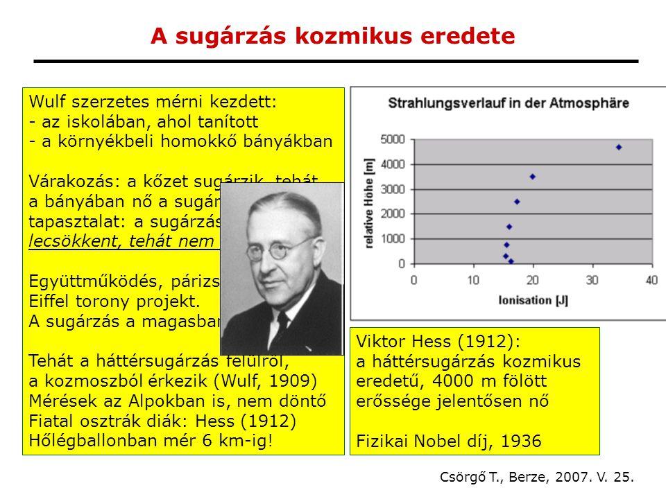 A sugárzás kozmikus eredete Csörgő T., Berze, 2007.