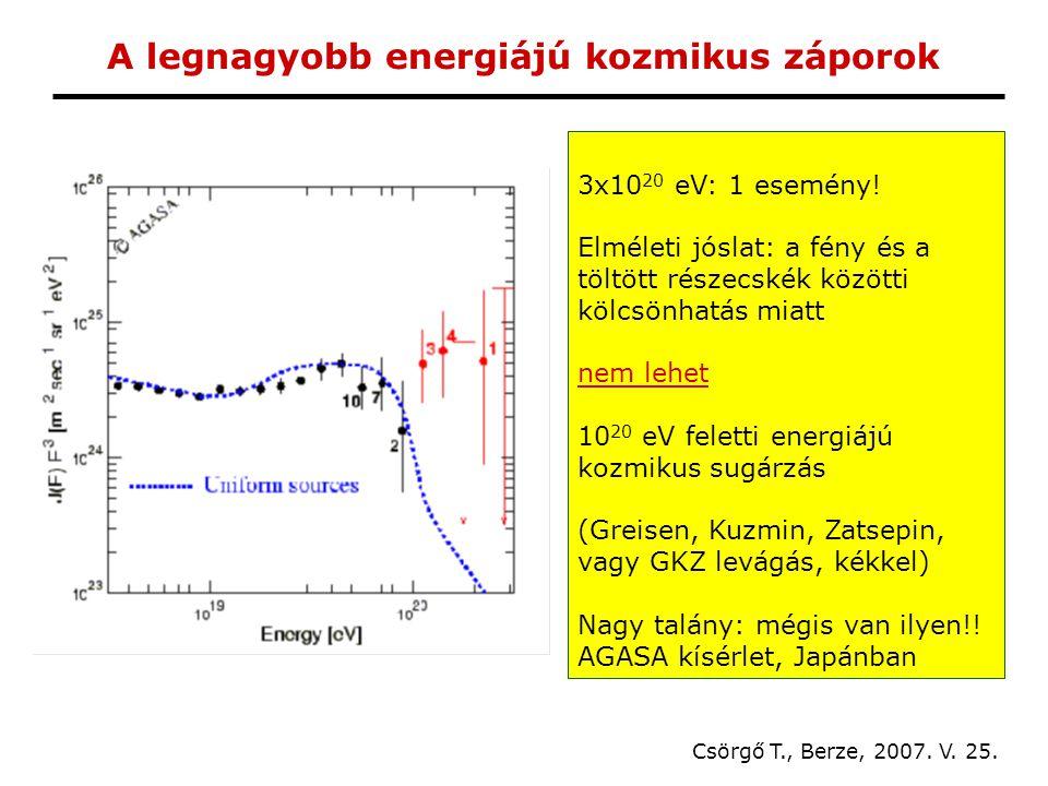 A legnagyobb energiájú kozmikus záporok Csörgő T., Berze, 2007.