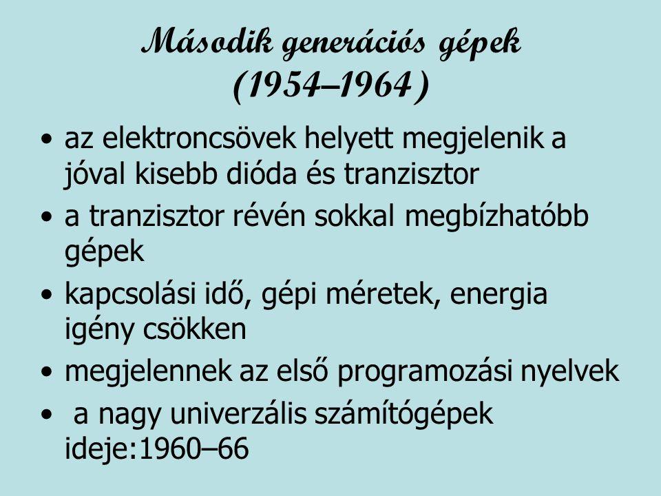 Második generációs gépek (1954–1964) az elektroncsövek helyett megjelenik a jóval kisebb dióda és tranzisztor a tranzisztor révén sokkal megbízhatóbb