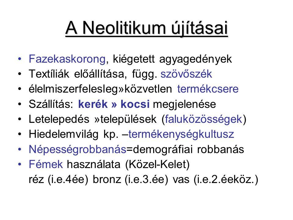A Neolitikum újításai Fazekaskorong, kiégetett agyagedények Textíliák előállítása, függ.