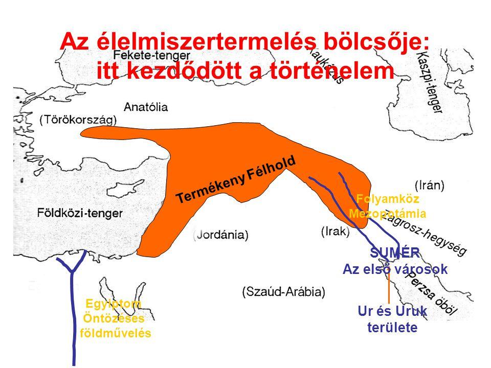 Az élelmiszertermelés bölcsője: itt kezdődött a történelem Termékeny Félhold Ur és Uruk területe SUMÉR Az első városok Folyamköz Mezopotámia Egyiptom
