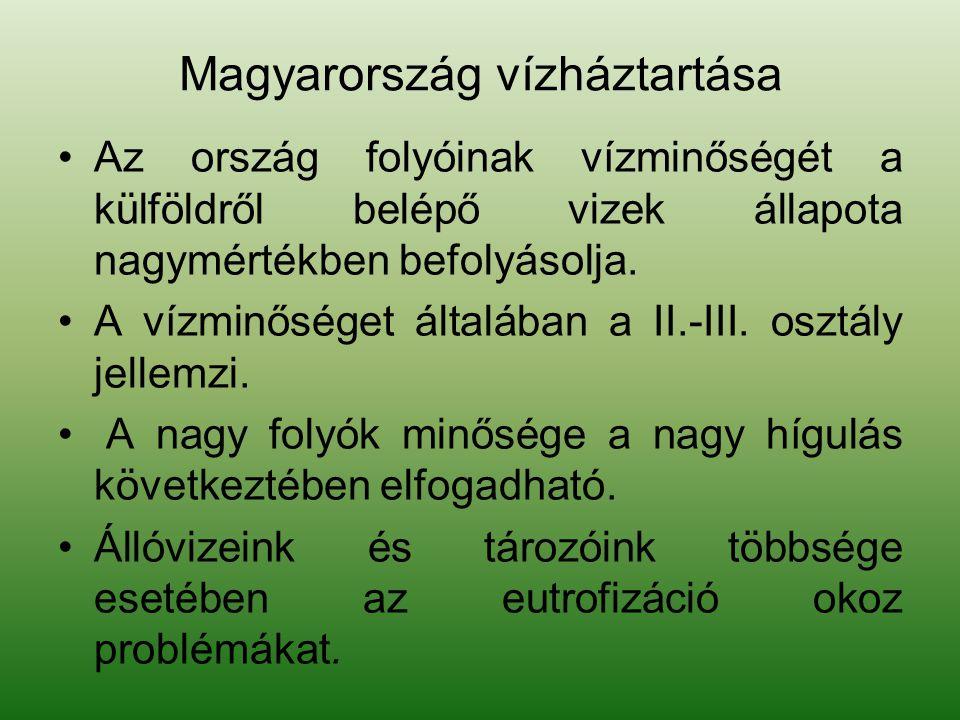 Magyarország vízháztartása Az ország folyóinak vízminőségét a külföldről belépő vizek állapota nagymértékben befolyásolja. A vízminőséget általában a