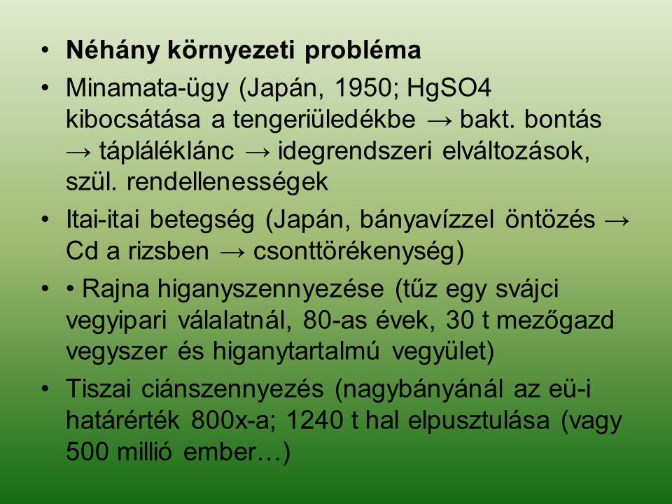 Néhány környezeti probléma Minamata-ügy (Japán, 1950; HgSO4 kibocsátása a tengeriüledékbe → bakt. bontás → tápláléklánc → idegrendszeri elváltozások,