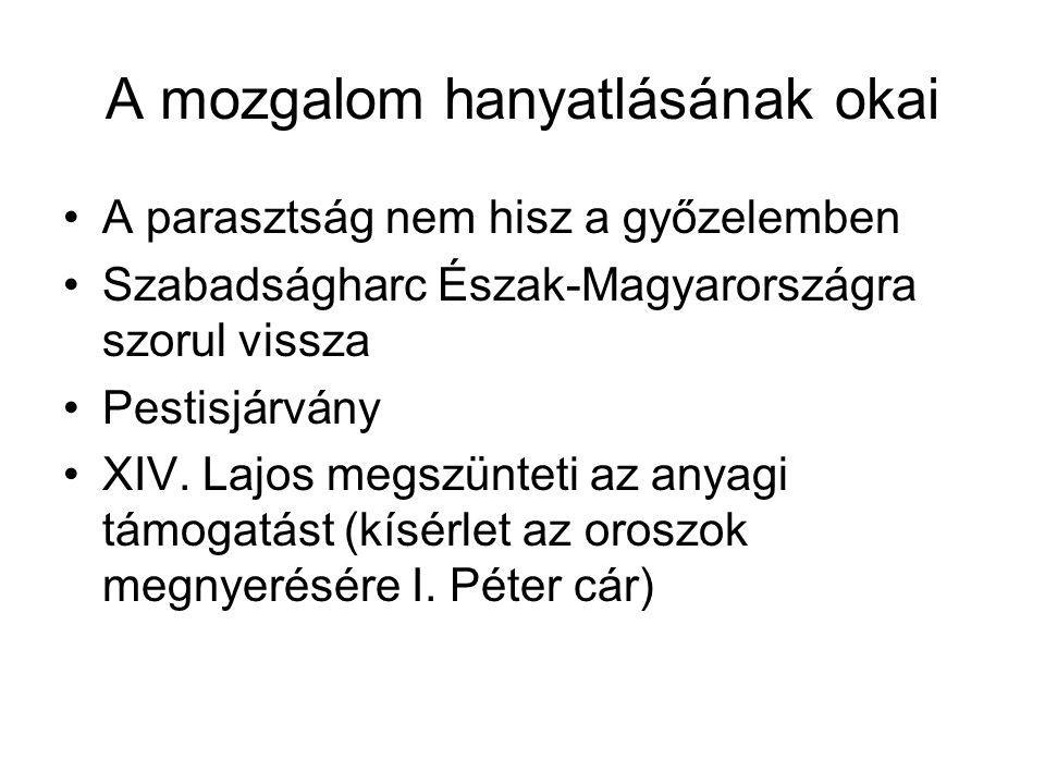 A mozgalom hanyatlásának okai A parasztság nem hisz a győzelemben Szabadságharc Észak-Magyarországra szorul vissza Pestisjárvány XIV. Lajos megszüntet