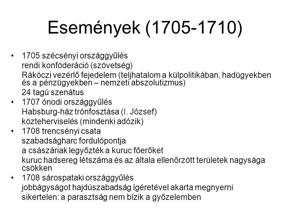 Események (1705-1710) 1705 szécsényi országgyűlés rendi konföderáció (szövetség) Rákóczi vezérlő fejedelem (teljhatalom a külpolitikában, hadügyekben