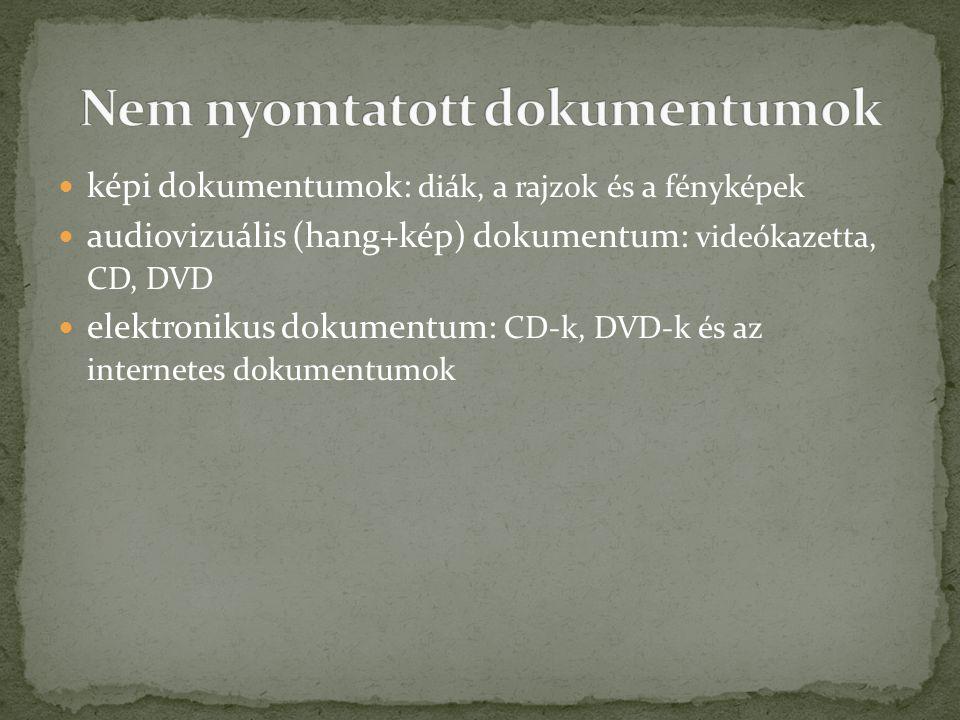 képi dokumentumok: diák, a rajzok és a fényképek audiovizuális (hang+kép) dokumentum: videókazetta, CD, DVD elektronikus dokumentum: CD-k, DVD-k és az internetes dokumentumok