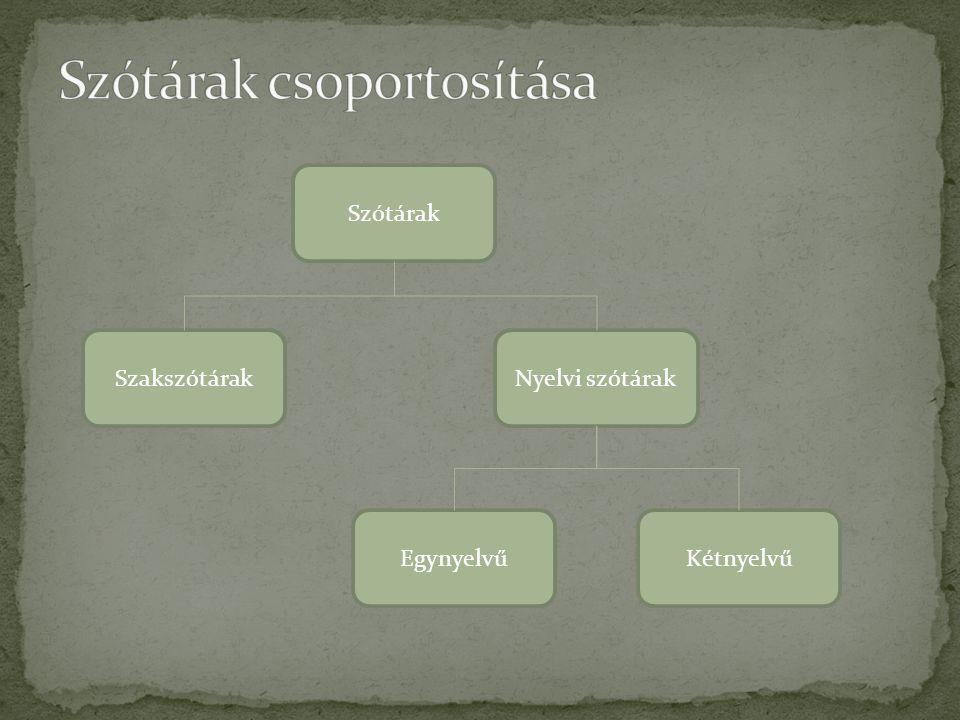 Szótárak SzakszótárakNyelvi szótárak EgynyelvűKétnyelvű