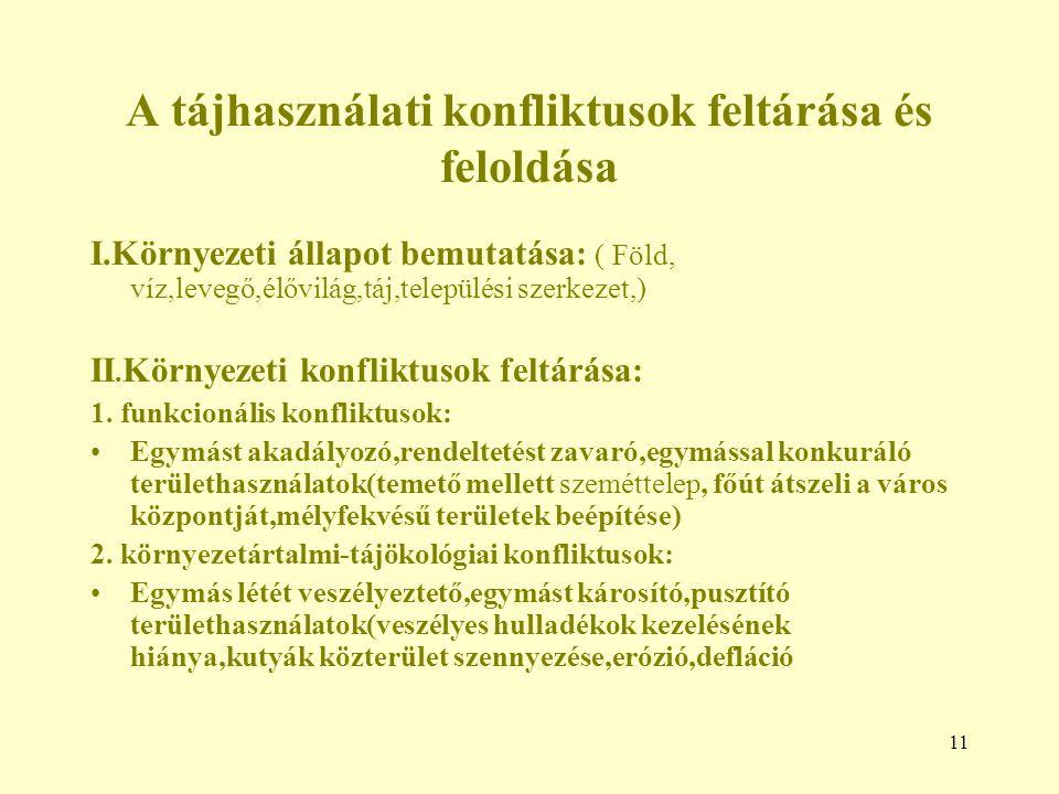 11 A tájhasználati konfliktusok feltárása és feloldása I.Környezeti állapot bemutatása: ( Föld, víz,levegő,élővilág,táj,települési szerkezet,) II.