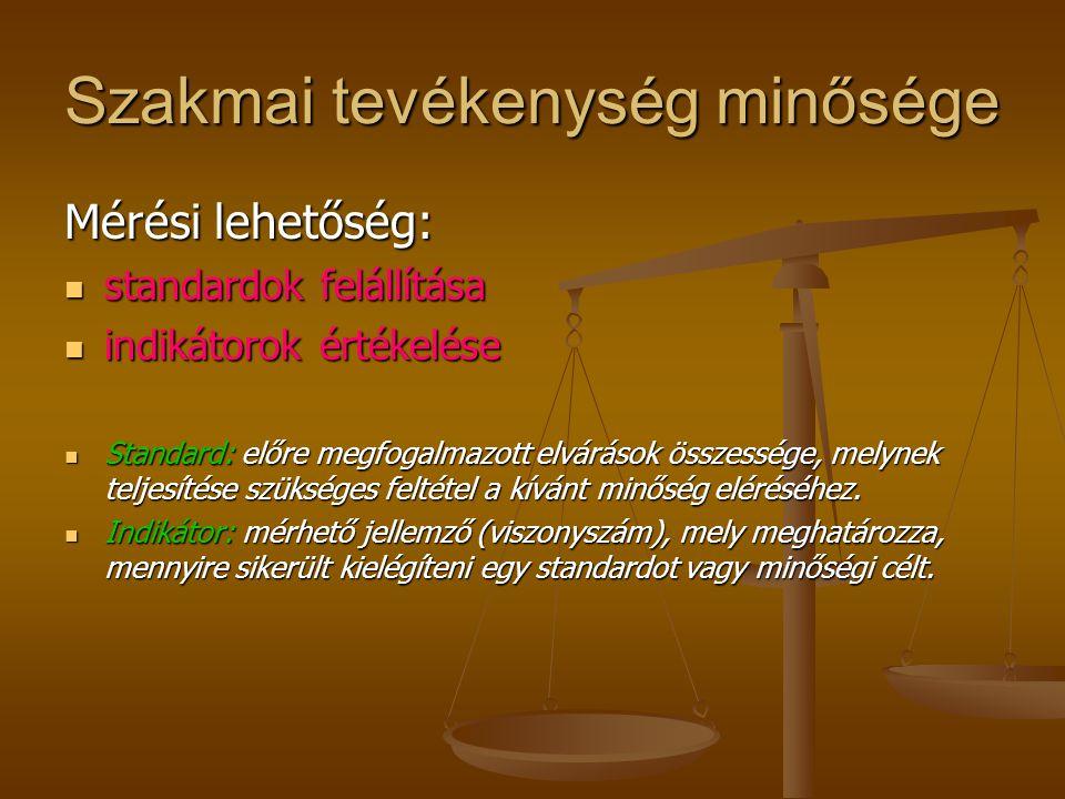 Szakmai ellátás minősége Szakmai szempontból minőségi ellátás: szakma szabályainak betartásával szakma szabályainak betartásával a lehető legnagyobb o