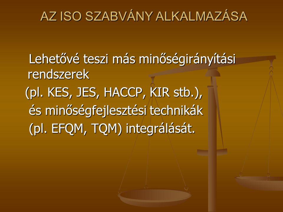 Minőségügyi rendszerek Folyamatszabályozáson alapuló rendszerek: ISO Folyamatszabályozáson alapuló rendszerek: ISO Standard szabályozáson alapuló rend