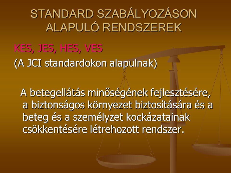 AZ ISO SZABVÁNY ALKALMAZÁSA Lehetővé teszi más minőségirányítási rendszerek Lehetővé teszi más minőségirányítási rendszerek (pl. KES, JES, HACCP, KIR