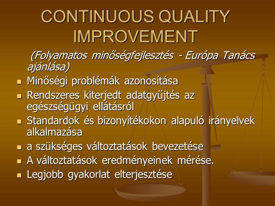 TQM (Állandó Javítás) Cél Elvek Középpontban a vevő Folyamatok javítása Teljes elkötelezettség és felhatalmazás A TQM folyamat vezetése KommunikációTá