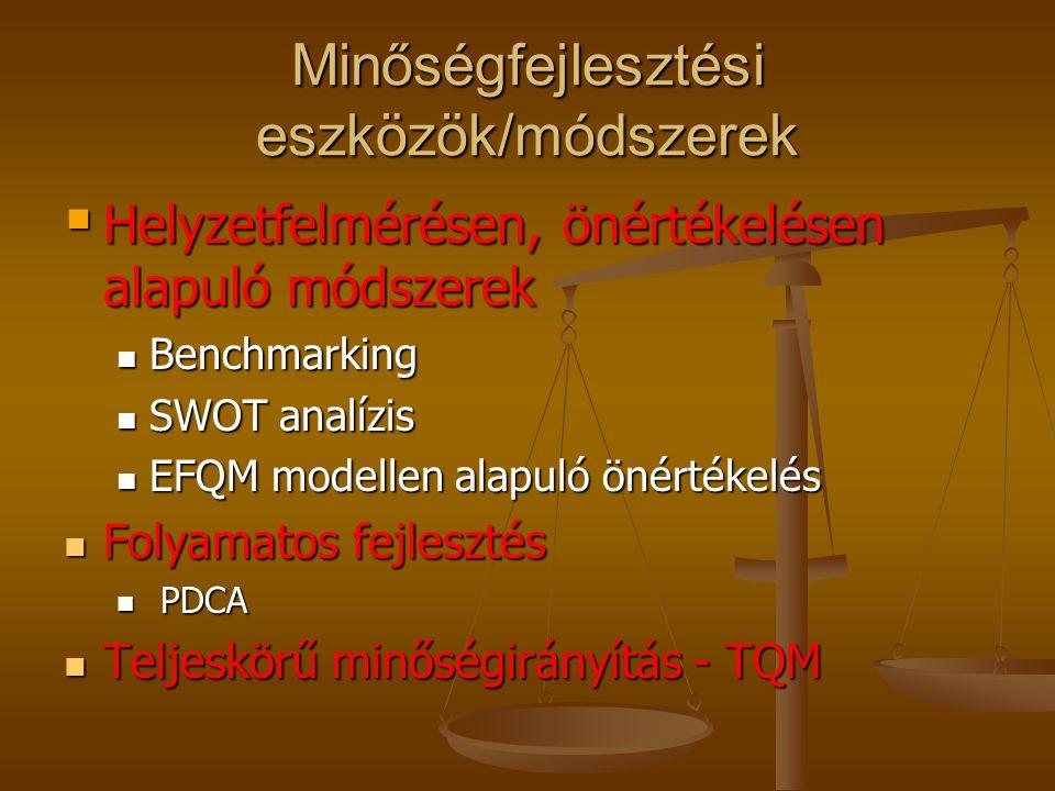 Minőségfejlesztési eszközök/módszerek Vevői elégedettségi vizsgálatok Vevői elégedettségi vizsgálatok Hibafeltáró, adatgyűjtő eszközök Hibafeltáró, ad