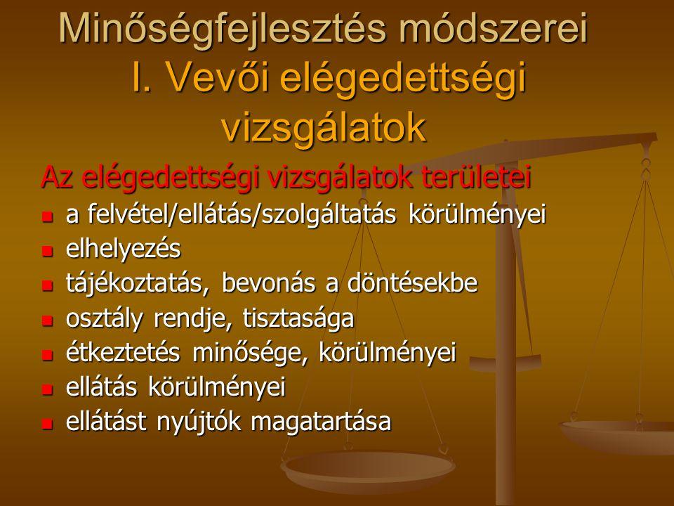 Minőségfejlesztés módszerei I. Vevői elégedettségi vizsgálatok A vizsgálatok módszerei kérdőív kérdőív megfigyelés megfigyelés dokumentáció alapján (p