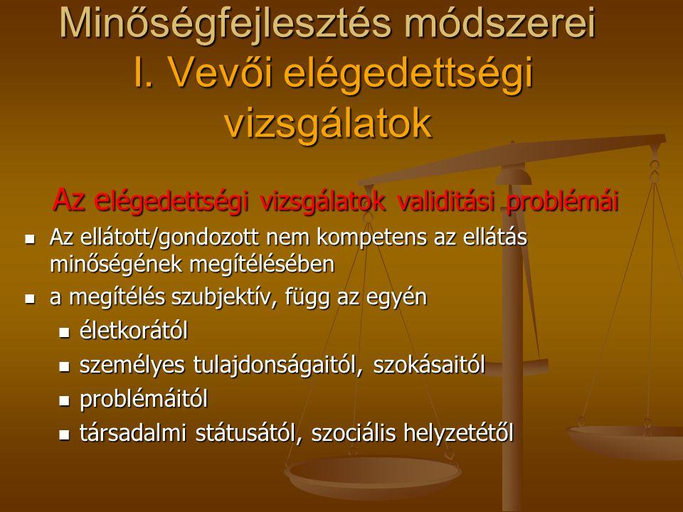 Minőségfejlesztés módszerei I. Vevői elégedettségi vizsgálatok Az elégedettségi vizsgálatok területei a felvétel/ellátás/szolgáltatás körülményei a fe