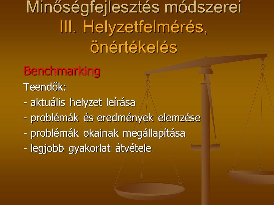 Benchmarking Mások hogyan csinálják? Mit kívánunk elérni, javítani Mit kívánunk elérni, javítani A megvalósításhoz milyen erőforrások szüksé- gesek A